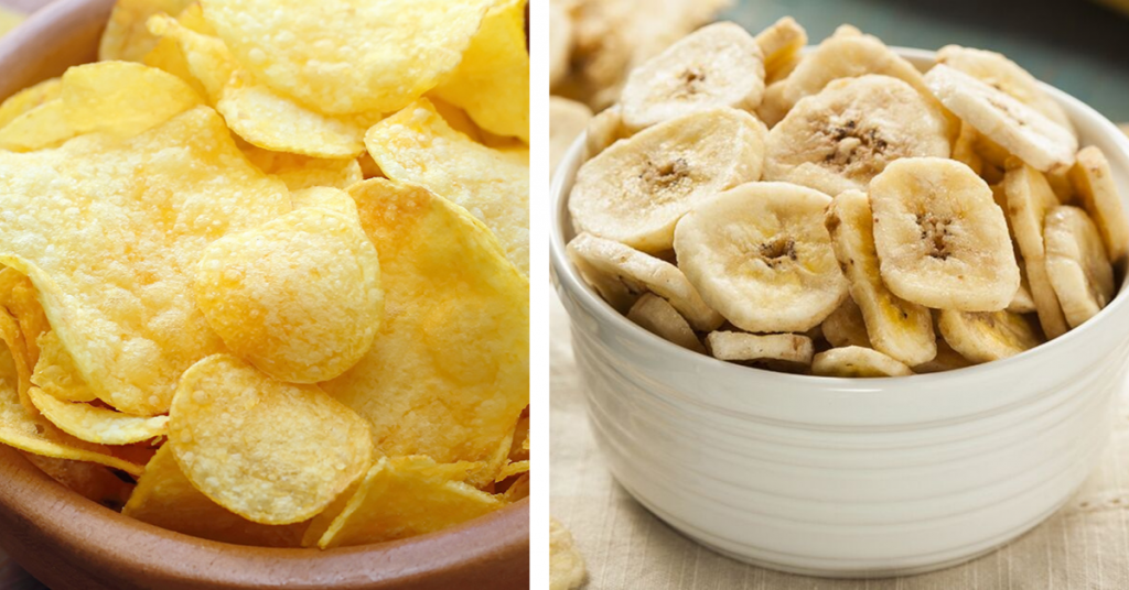 side by side potato chips versus banana chips; blog: simple food swaps to help you lose weight