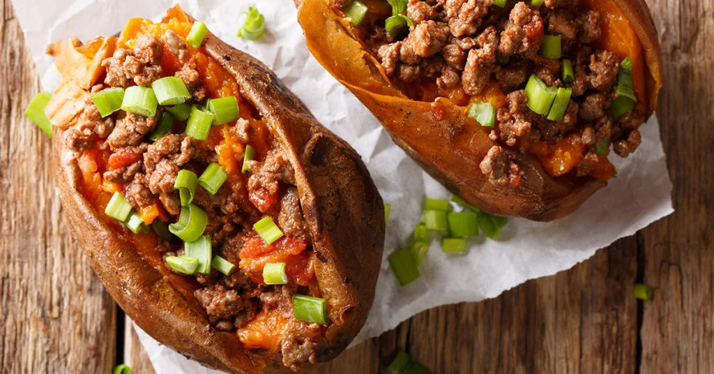 loaded sweet potatoes; blog: carbs that can help you lose weight