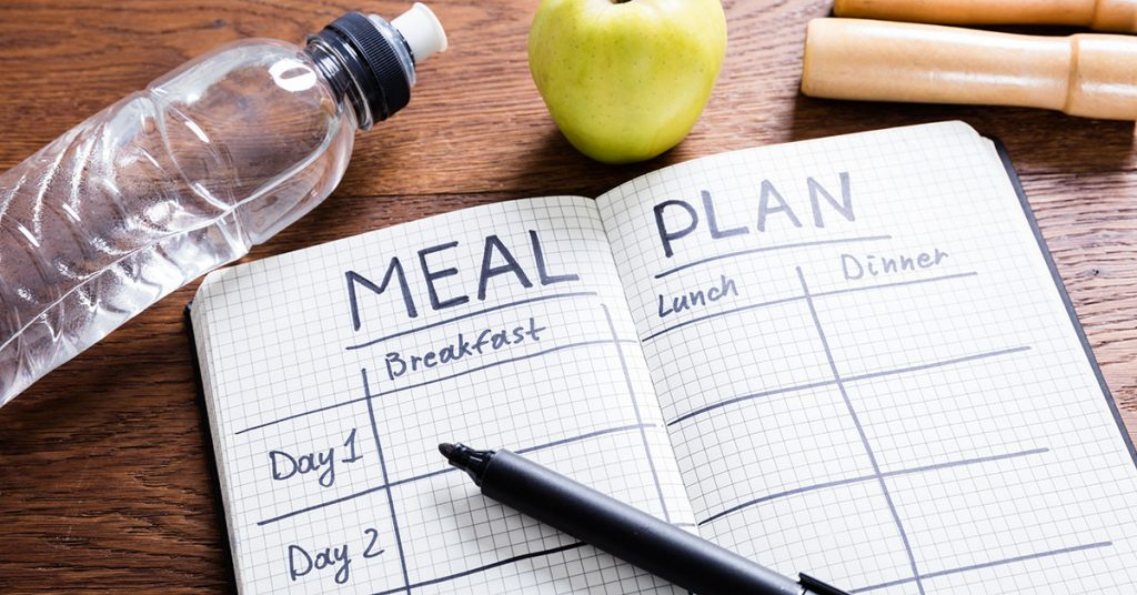 Meal Plan Concept On Wooden Desk; blog: habits to help you lose weight