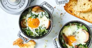 Baked Eggs with Mushrooms and Spinach